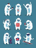 Cute Yeti Abominable Snowman, Bigfoot Sasquatch bigfoot monsters character like people vector set