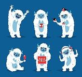 Cute yeti biigfoot monsters vector set.