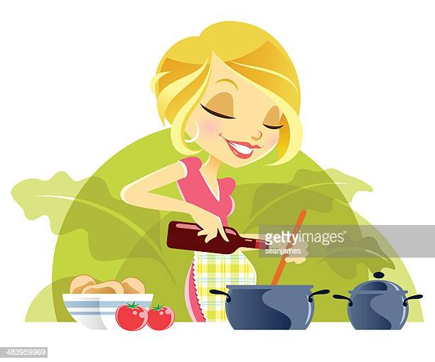 Cute Young Woman Cooking Meal