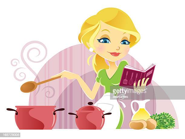 Cute Young Woman Cooking while reading Recipe Book