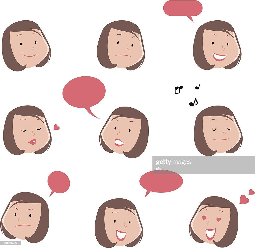 Linda mujer joven Emoticons : Ilustración de stock