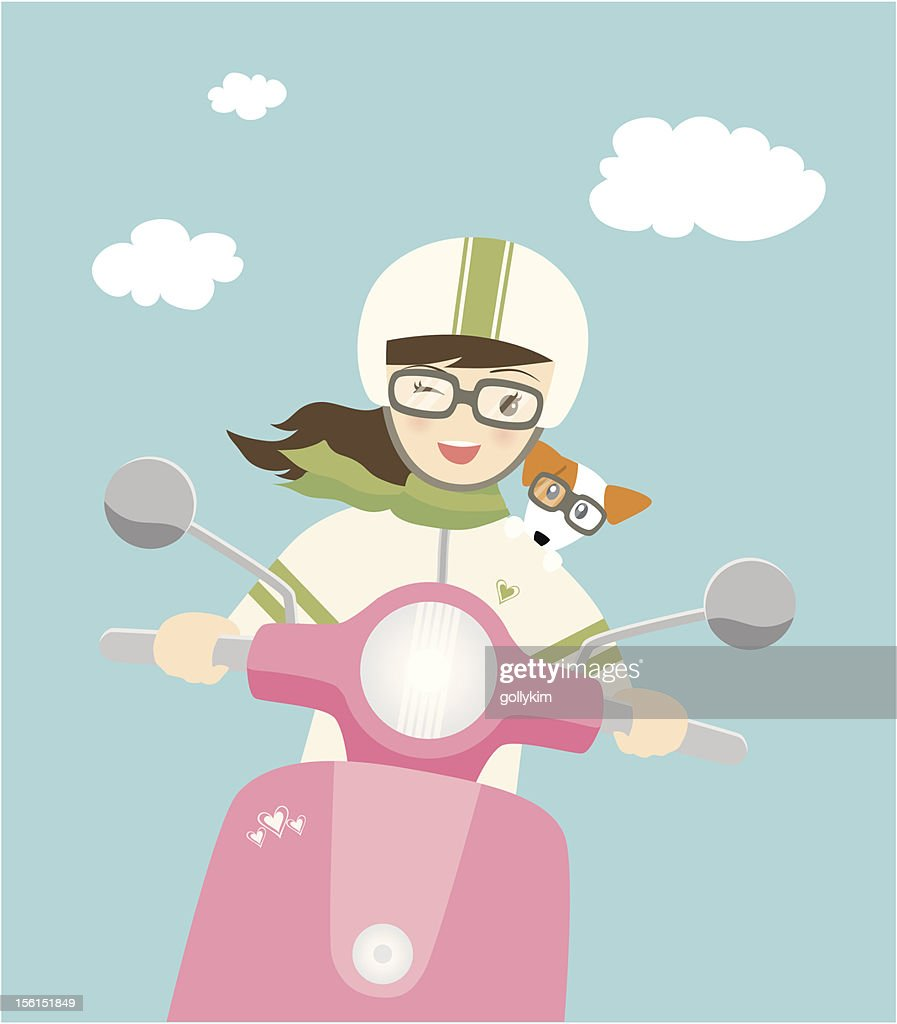 Cute young woman on scooter with dog : stock illustration