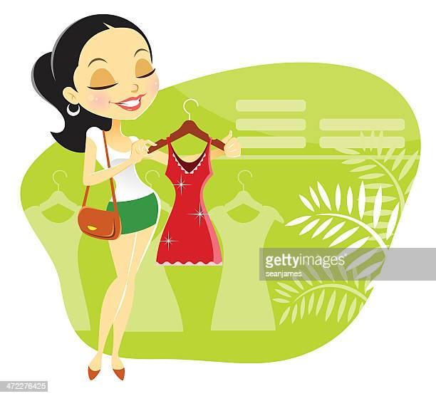 Cute Young Woman Shopping for Dress