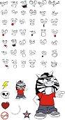 cute young zebra cartoon expressions set2