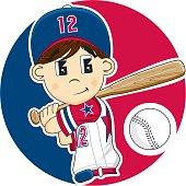 Cute Youth League Baseball Boy
