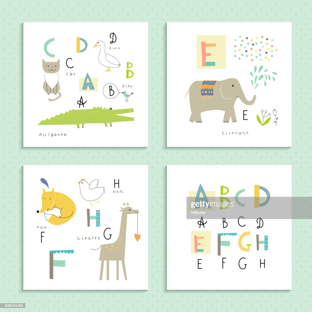 Cute zoo alphabet in vector. Four funny cards with animals.