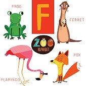 Cute zoo alphabet in vector.F letter. Funny cartoon animals