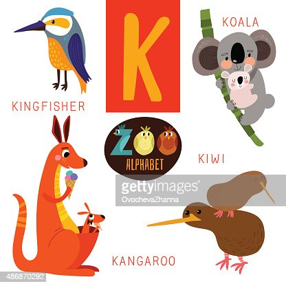 words that start with the letter a cute zoo alphabet in vectork letter animals 1735