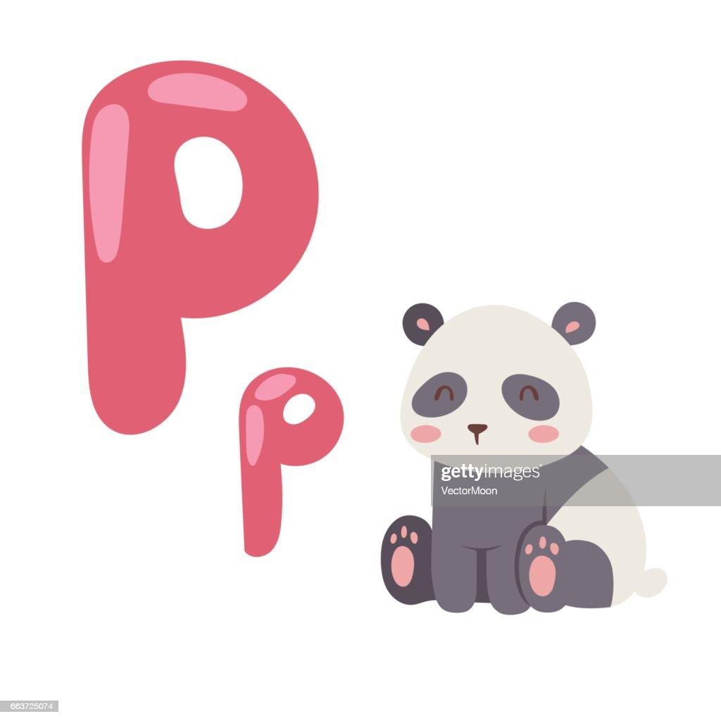 Cute Zoo Alphabet With Cartoon Animal Panda Isolated On White ...