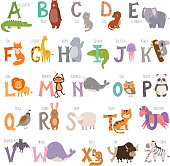 Cute alphabet clip art free vector cute alphabet 1000 graphics cute zoo alphabet with cartoon animals isolated on white background and grunge letters wildlife learn typography altavistaventures Images