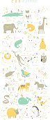 Cute zoo alphabet with funny animals in vector . Isolated.