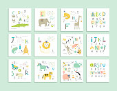 Cute zoo alphabet with funny animals in vector .