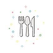 Cutlery color thin line icon