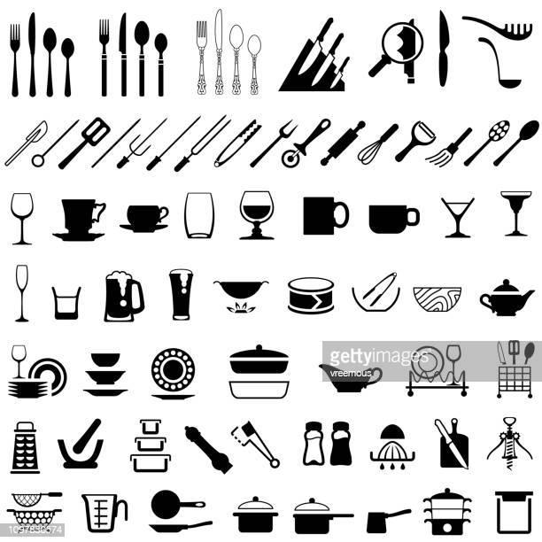 stockillustraties, clipart, cartoons en iconen met bestek, servies en keuken gebruiksvoorwerpen pictogrammen - tafelmes