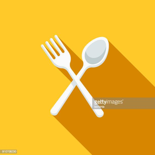 cutlery flat design bbq icon with side shadow - picnic stock illustrations