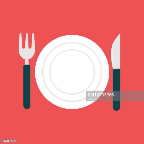 ilustraciones, imágenes clip art, dibujos animados e iconos de stock de icono de cuchillería. elemento de diseño de símbolo de ilustración vectorial plana - tenedor