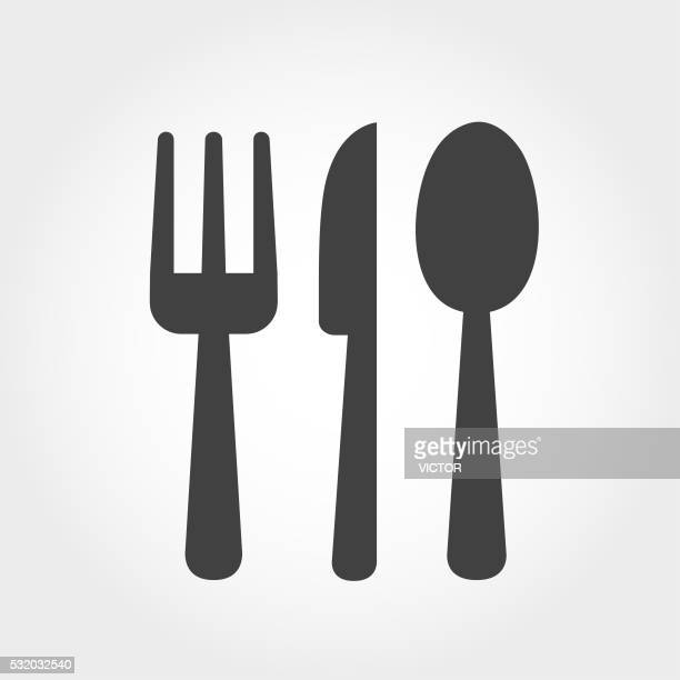cutlery icon - iconic series - lunch stock illustrations