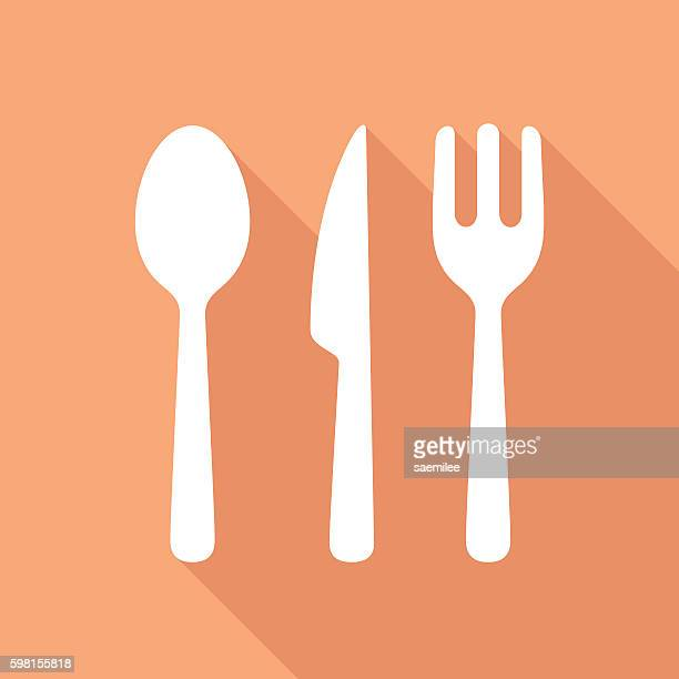 cutlery icon white - spoon stock illustrations