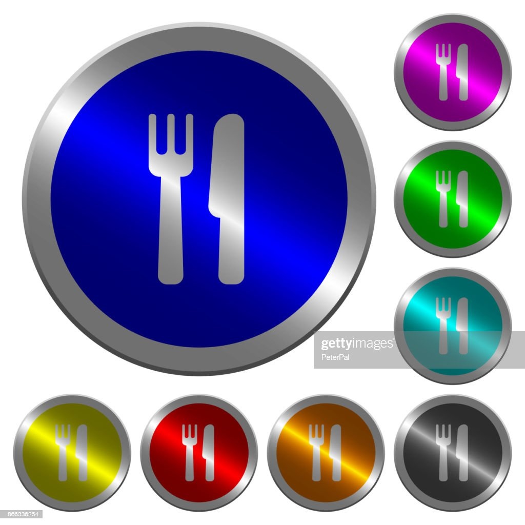 Cutlery luminous coin-like round color buttons
