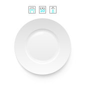 Cutlery object realistic. Plate isolated.   Items realistic