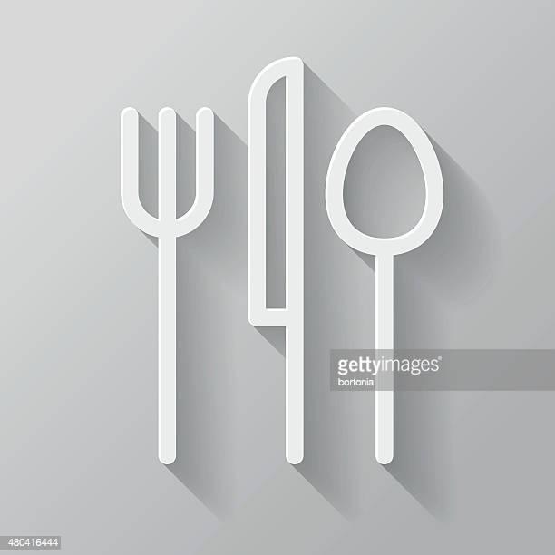 ilustraciones, imágenes clip art, dibujos animados e iconos de stock de cubiertos papel de interfaz de línea fina icono con larga sombra - tenedor