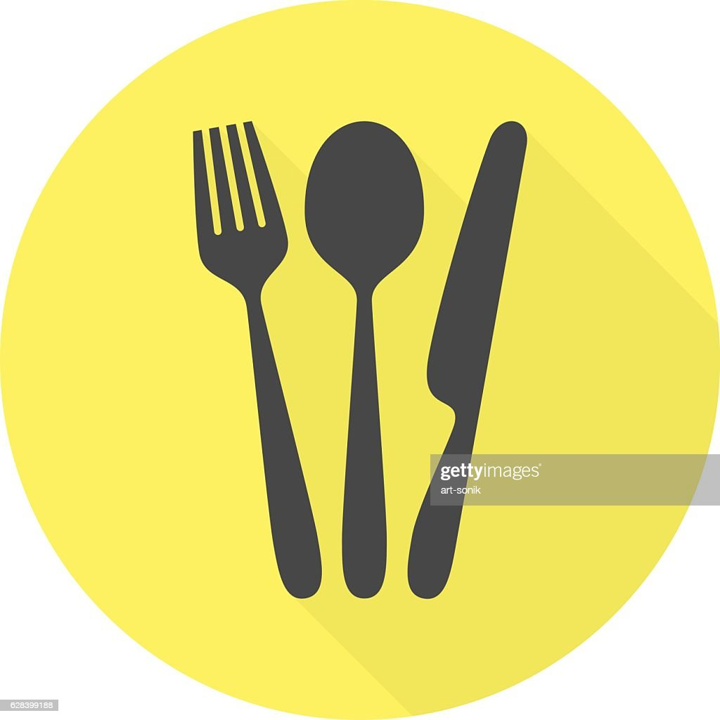 Cutlery vector icon with long shadow.