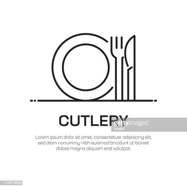 cutlery vector line icon - simple thin line icon, premium quality design element - plate stock illustrations