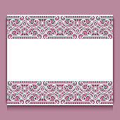 Cutout paper frame with lace border ornament