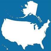 Cutout silhouette map of USA