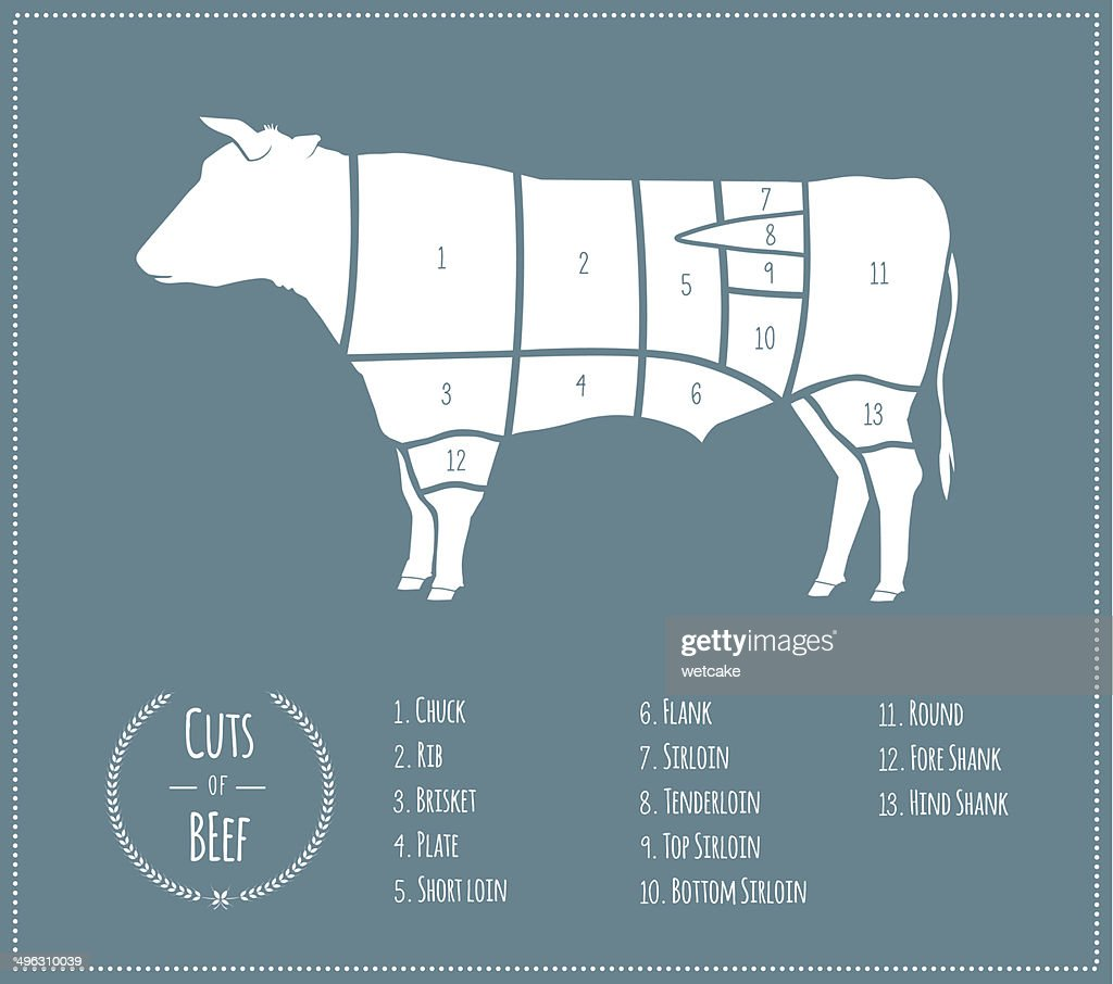 Cuts of Beef [US Chart] : stock illustration