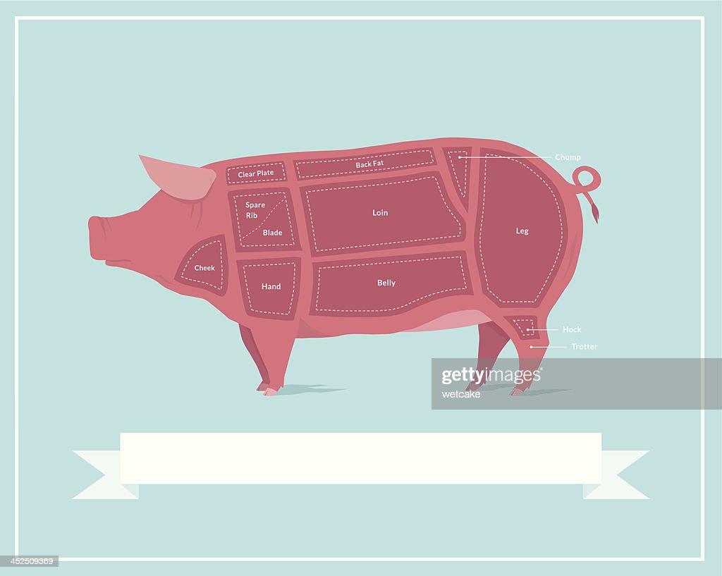 Cuts of Pork : stock illustration
