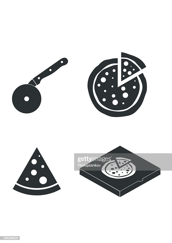 Cutter knife cooking equipment, pizza slice, box icons flat style.