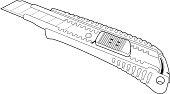 cutter knife line art.