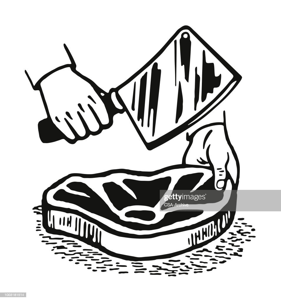 Cutting a Piece of Meat : stock illustration
