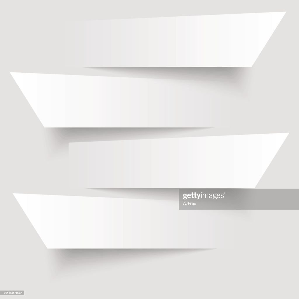 4 cutting banners on the grey background. Vector illustration.