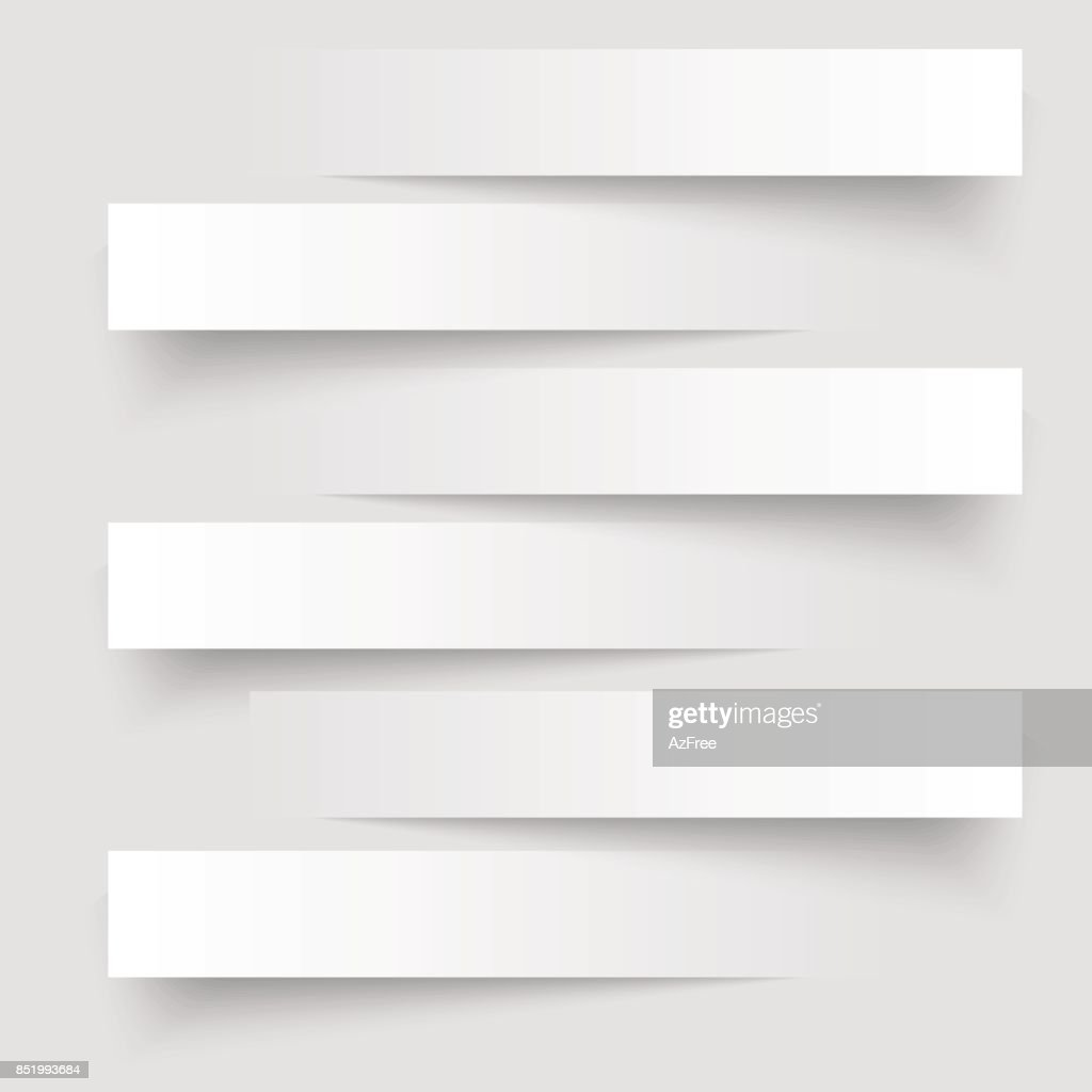 6 cutting banners on the grey background. Vector illustration.