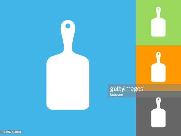 Cutting Board Flat Icon on Blue Background