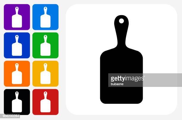 Cutting Board Icon Square Button Set