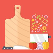 Cutting board, knife, saucepan and vegetables vector set. Flat design