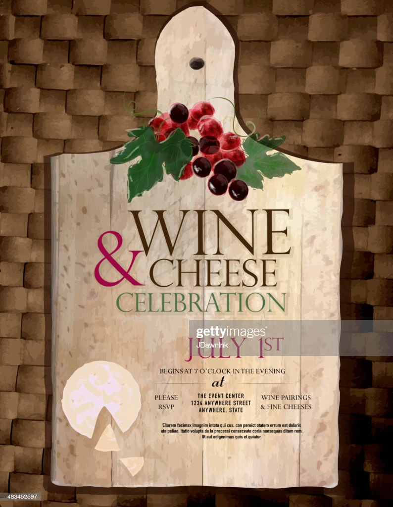 Cutting Board Wine And Cheese Party Invitation Design Template ...