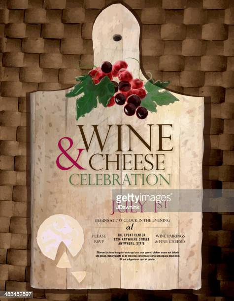 Cutting board Wine and cheese party invitation design template