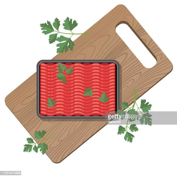 cutting board with ground beef - ground beef stock illustrations