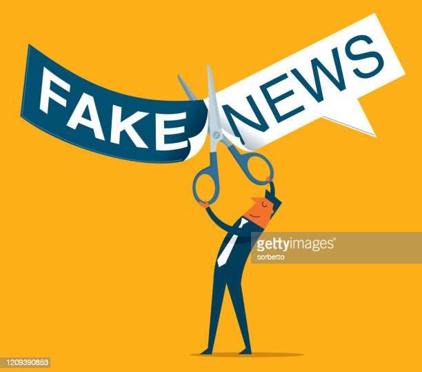ilustraciones, imágenes clip art, dibujos animados e iconos de stock de corte- empresario - fake news