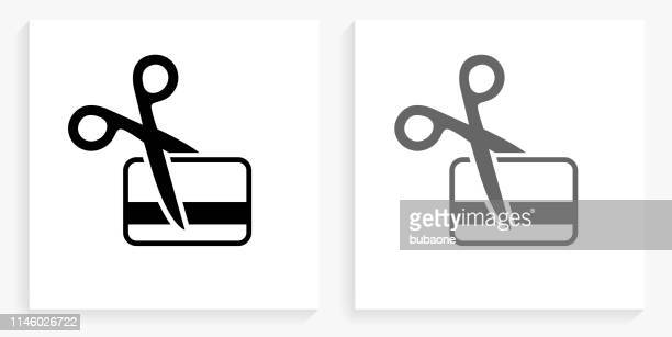 cutting card black and white square icon - scissors stock illustrations