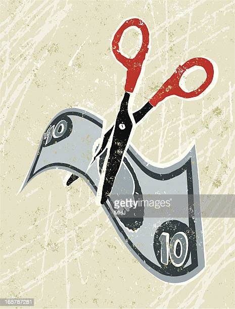 cutting costs, money and scissors - subprime loan crisis stock illustrations