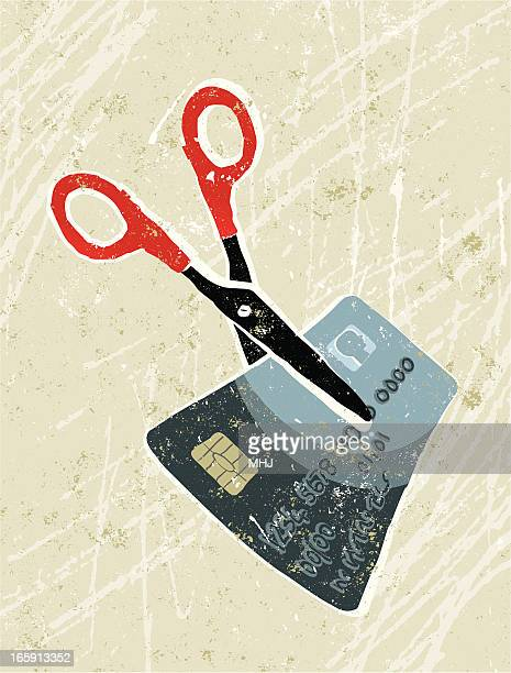 cutting debt, money and credit card - subprime loan crisis stock illustrations