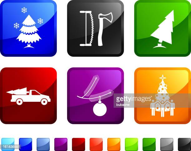 Cutting Down Christmas Tree royalty free vector icon set stickers.