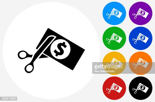 Cutting Money Icon on Flat Color Circle Buttons