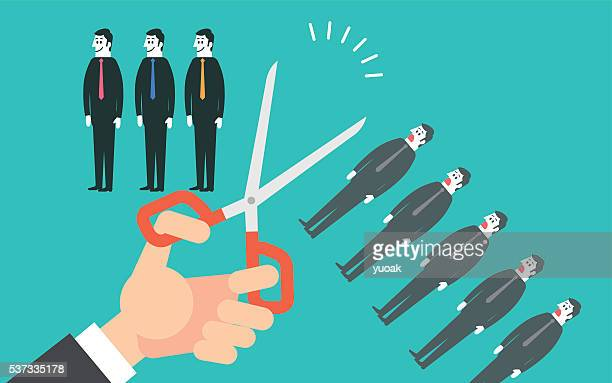 cutting off people - downsizing unemployment stock illustrations, clip art, cartoons, & icons