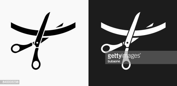 Cutting Ribbon Icon on Black and White Vector Backgrounds